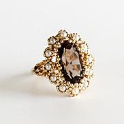 Lady's Vintage 14K Smoky Topaz & Pearl Ring