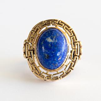 Beautiful Vintage Custom Lady's 14K Lapis Ring