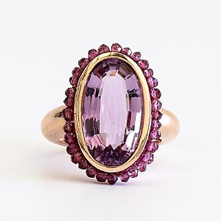 Exquisite Lady's 14K Rose Gold Vintage Amethyst Ring