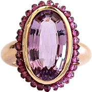 Exquisite Lady's 14K Rose Gold Vintage Amethyst Ring