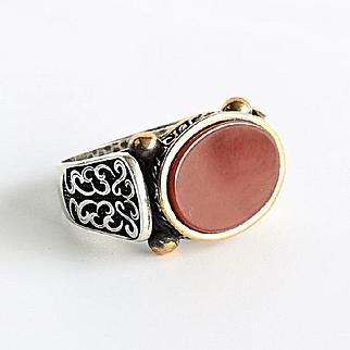 Gent's Vintage Sterling Carnelian Ring