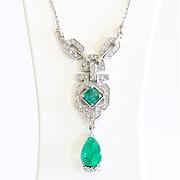 Lady's Circa 1910 Edwardian 14K Emerald & Diamond Necklace