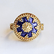 Circa 1900 Antique 18K Lady's Cobalt Blue Enameled Ring