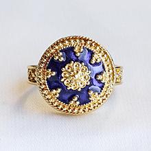Circa 1900 Antique 18K Lady's Cobalt Blue Enameled Ring