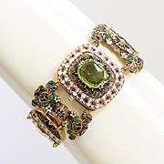 Rare Circa 1890 Antique Art Nouveau Lady's Enameled & Peridot Bracelet
