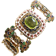 Rare Circa 1890 Antique Art Nouveau Lady's Enameled & Peridot Bracelet