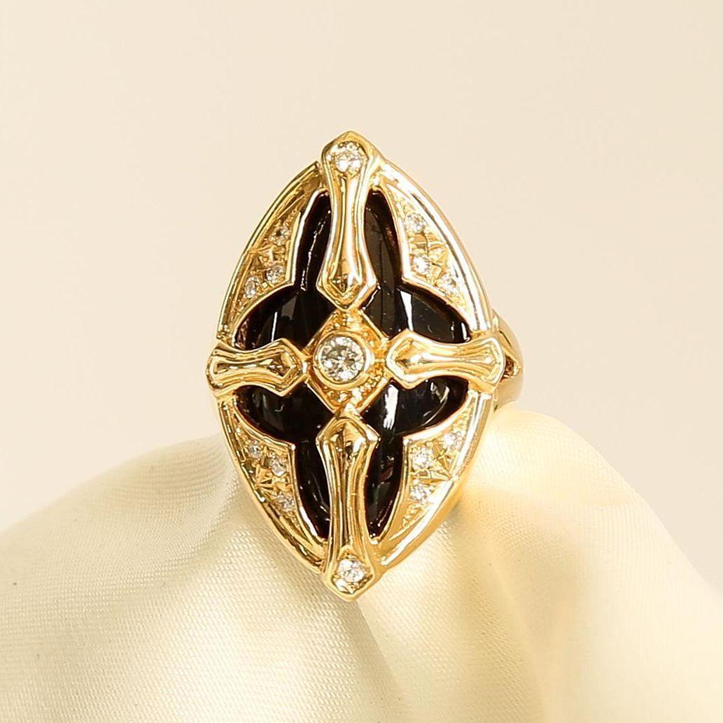 Lady's Vintage 18K Diamond & Onyx Ring