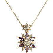 Lady' Vintage 18K Diamond & Tanzanite Pendant