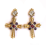 Lady's Vintage 14K Tanzanite, Tourmaline & Diamond Cross Earrings