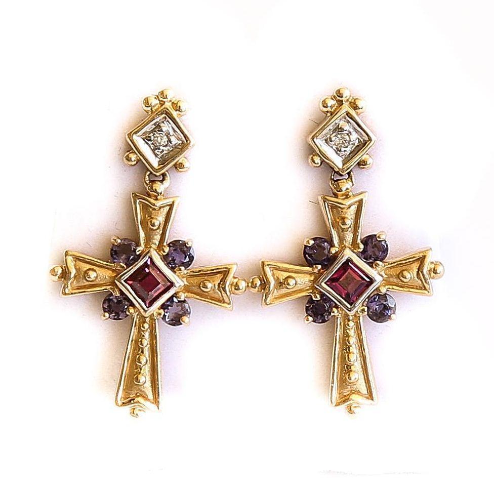 Lady's Vintage 14K Tanzanite, Tourmaline & Diamond Cross Earrings
