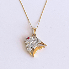 Lady's Vintage 18K Diamond & Ruby Fish Pendant