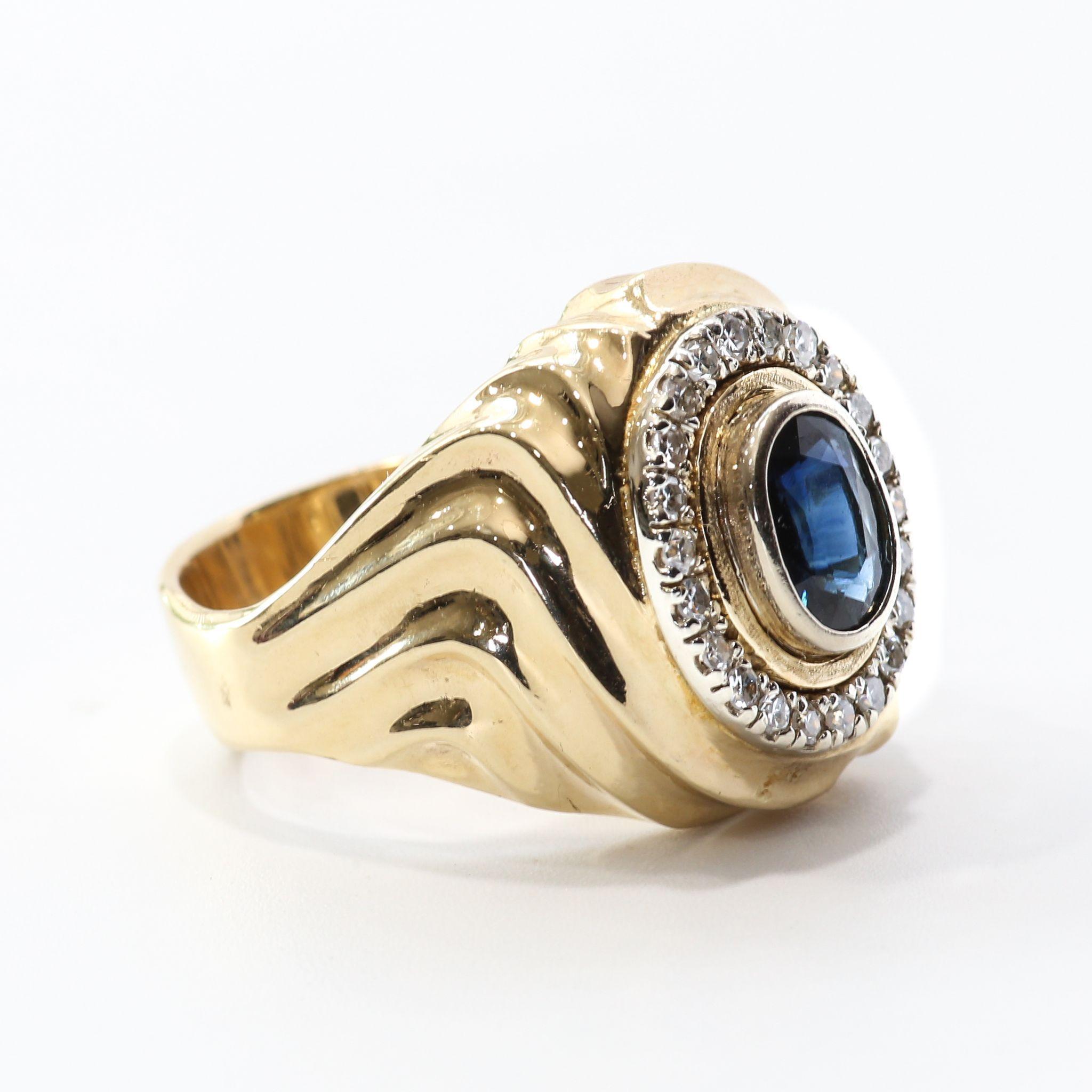 Gent's Vintage 14K Natural Sapphire & Diamond Ring