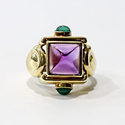 Vintage Art Deco 14K Lady's Amethyst & Tourmaline Ring
