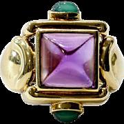 Vintage Art Deco 14K Lady's Amethyst & Tourmaline Ring