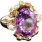 Lady's Lovely 14K Vintage Amethyst & Diamond Ring