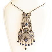 Circa 1890 Lady's 14K & Silver Art Nouveau Sapphire & Diamond Necklace