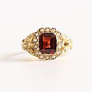 Lady's Circa 1900 14K Garnet & Pearl Ring