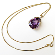 Lady's Vintage 14K Amethyst Pendant With 14K Chain
