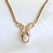 Lady's Vintage 14K Opal & Diamond Necklace