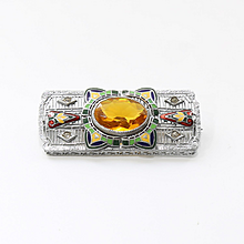 Circa 1920's Egyptian Revival 10K Enameled Brooch