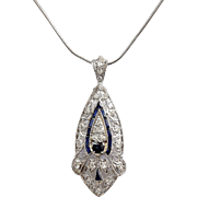 Circa 1905 Antique Lady's Edwardian Platinum Diamond & Sapphire Pendant