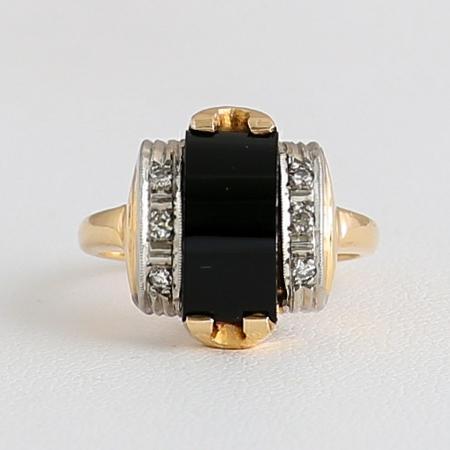 Lady's Vintage Art Deco 14K Onyx & Diamond Ring