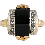 Lady's Vintage Art Deco 14K Onyx & Diamond Ring