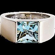 Vintage Sgn. Cartier 18K W/G Aquamarine Ring