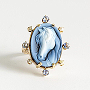 Lady's Vintage 14K Sapphire & Pearl Cameo Horse Ring