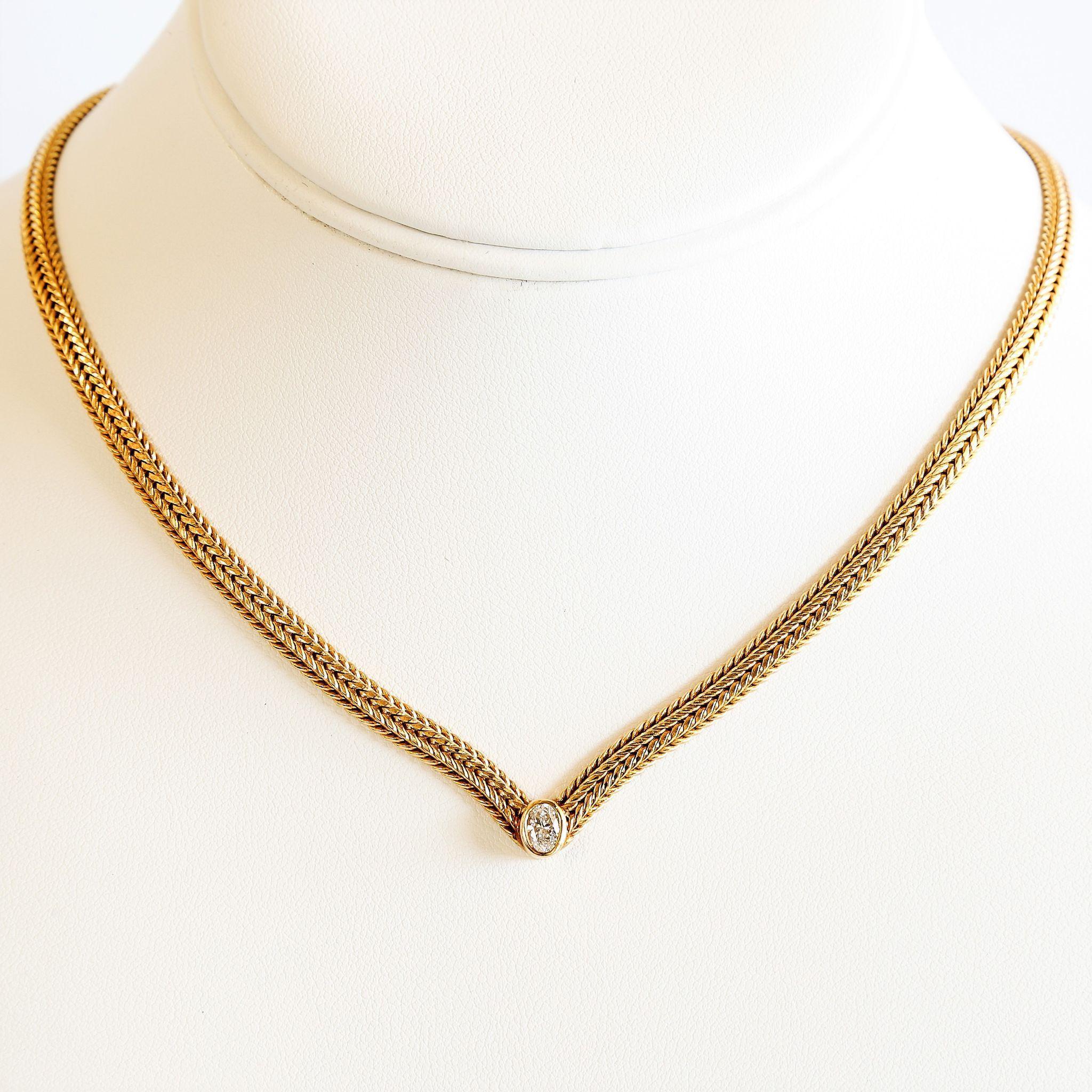 Lady' Custom Vintage 14K Diamond Necklace
