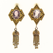 Circa 1900 Lady's 14K Amethyst Tassel Earrings