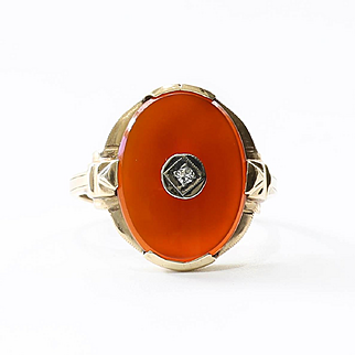 Lady's Vintage Art Deco 10K Carnelian & Diamond Ring