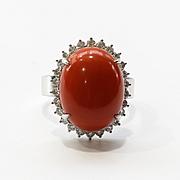 Lady's Vintage Custom 18K Coral & Diamond Ring