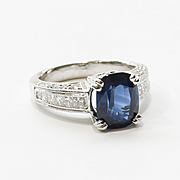 Lady's Vintage Custom Platinum Sapphire & Diamond Ring