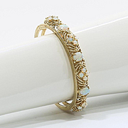 Lady's Vintage Custom 14K Opal Bangle Bracelet