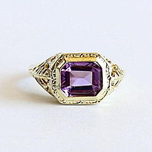 Lady' Vintage 14K Art Deco Amethyst Ring