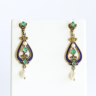 Lady's Circa 1890 14K Art Nouveau Enameled Emerald & Pearl Earrings