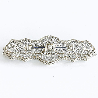 Lady's Antique Circa 1900 14K Sapphire & Diamond Bar Pin