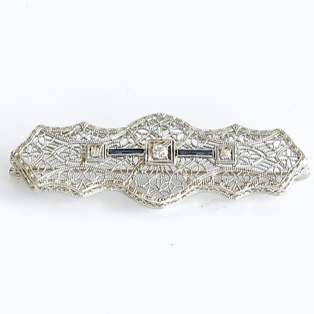 Lady's Antique Circa 1900 14K Sapphire & Diamond Bar Pin