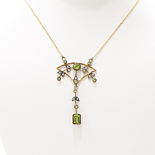 Circa 1900 English 9K Peridot & Diamond Lavaliere