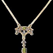 Circa 1900 English 9K Peridot & Diamond Lavaliere