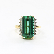 Lady's Vintage Custom 18K Tourmaline & Diamond Ring