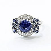 Lady's Art Deco Platinum Sapphire & Diamond Ring