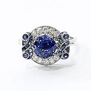 Lady's Art Deco Platinum Sapphire & Diamond Ring