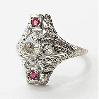 Lady's Art Deco Platinum Diamond & Ruby Ring