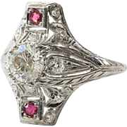 Lady's Art Deco Platinum Diamond & Ruby Ring