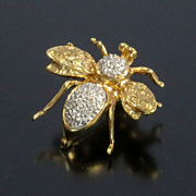 Lady's Vintage 14K Diamond Bee Pin