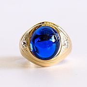 Gent's Vintage 14K Blue Spinel & Diamond Ring