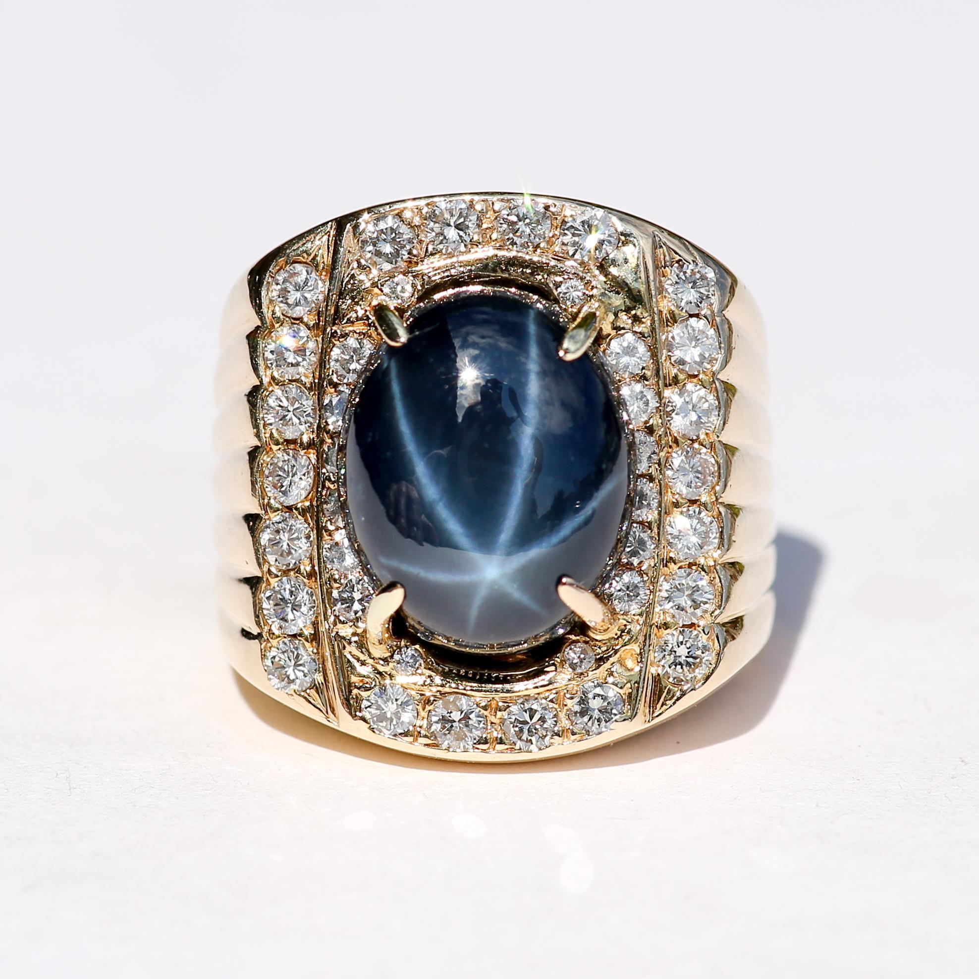 Gent's Vintage Custom 14K 12.56 Carat Sapphire & Diamond Ring