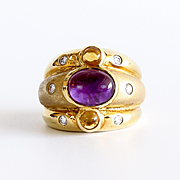 Lady's Vintage 18K Amethyst, Citrine & Diamond Ring